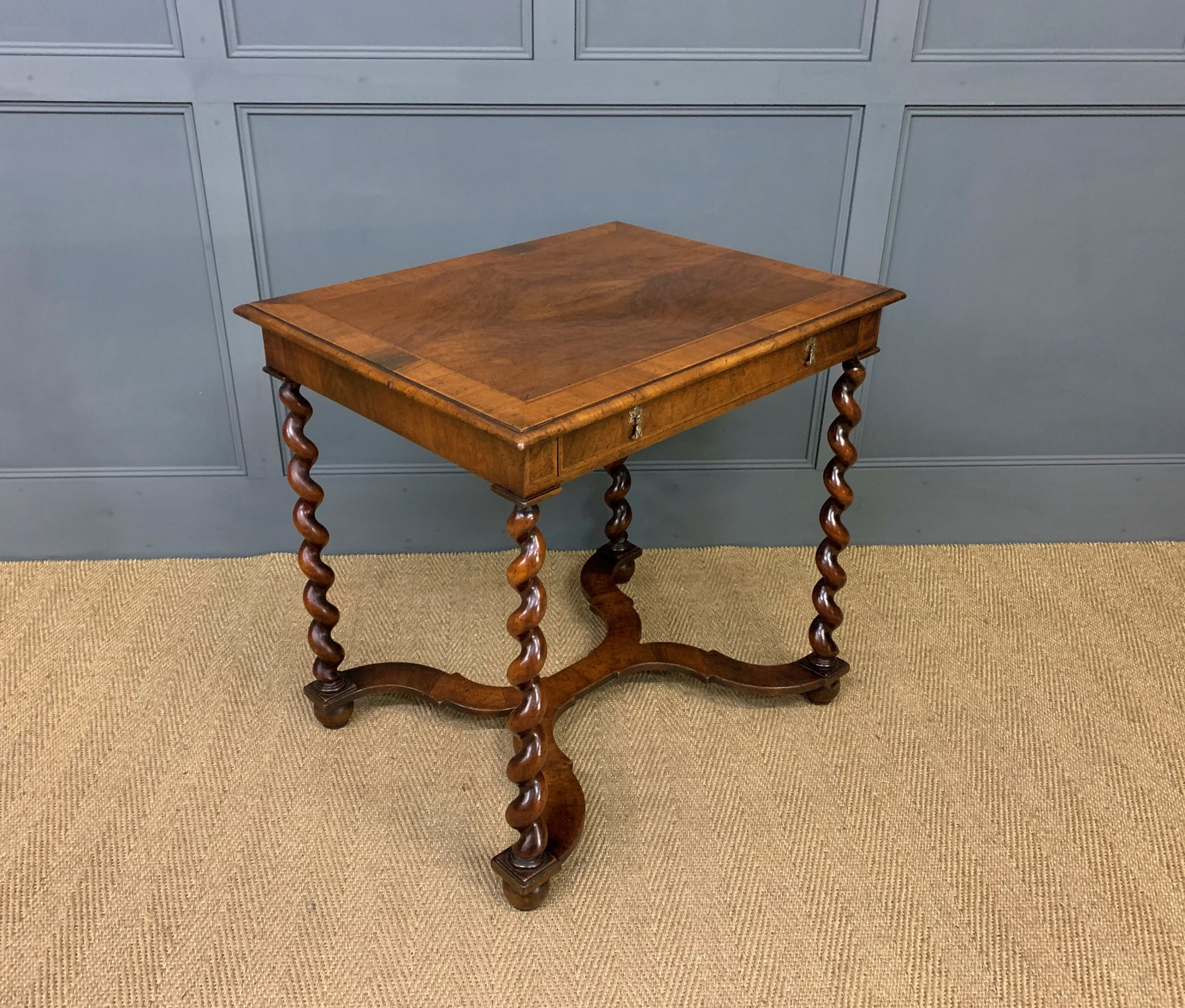 william and mary style burr walnut lamp table
