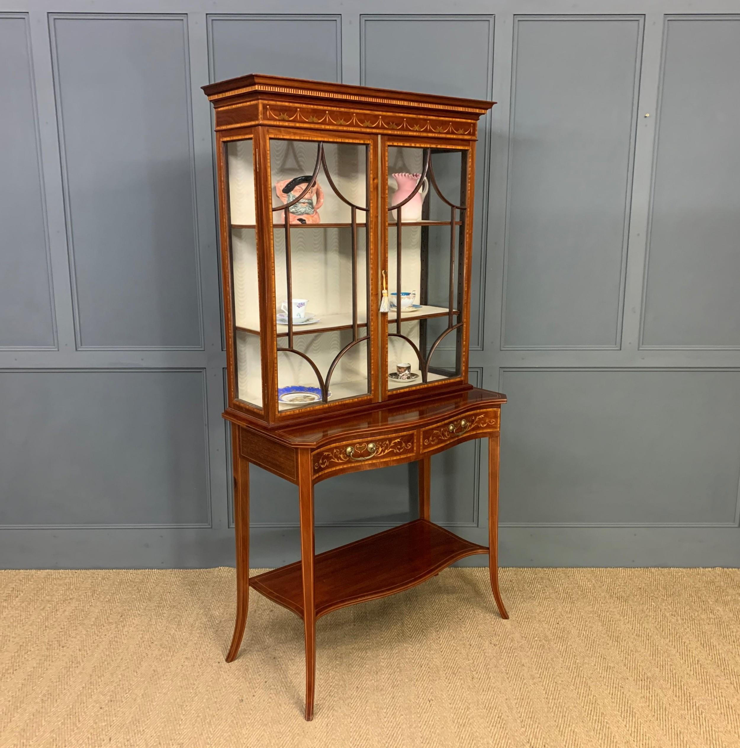 edwards and roberts inlaid mahogany display cabinet