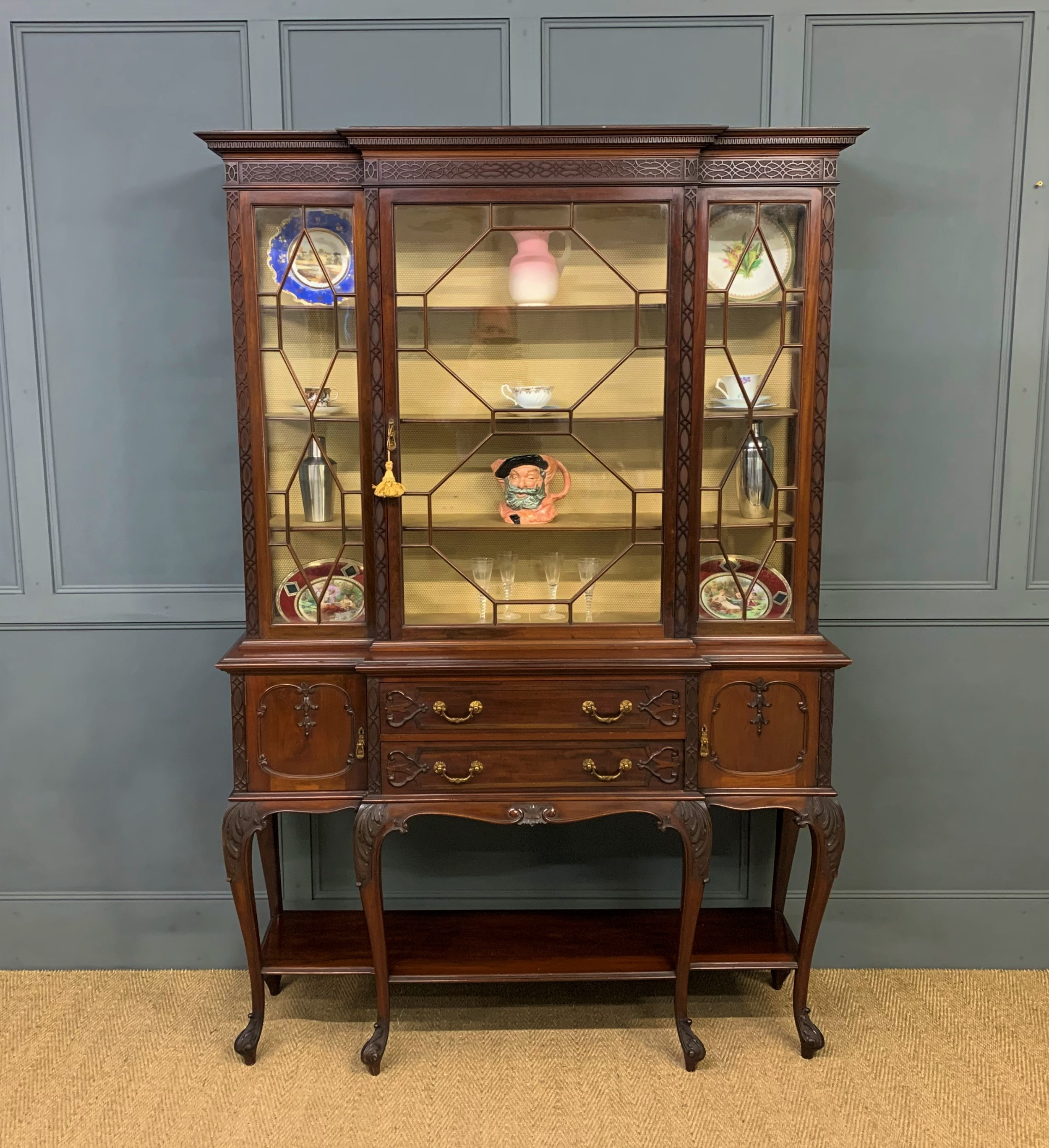carved mahogany display cabinet by warings