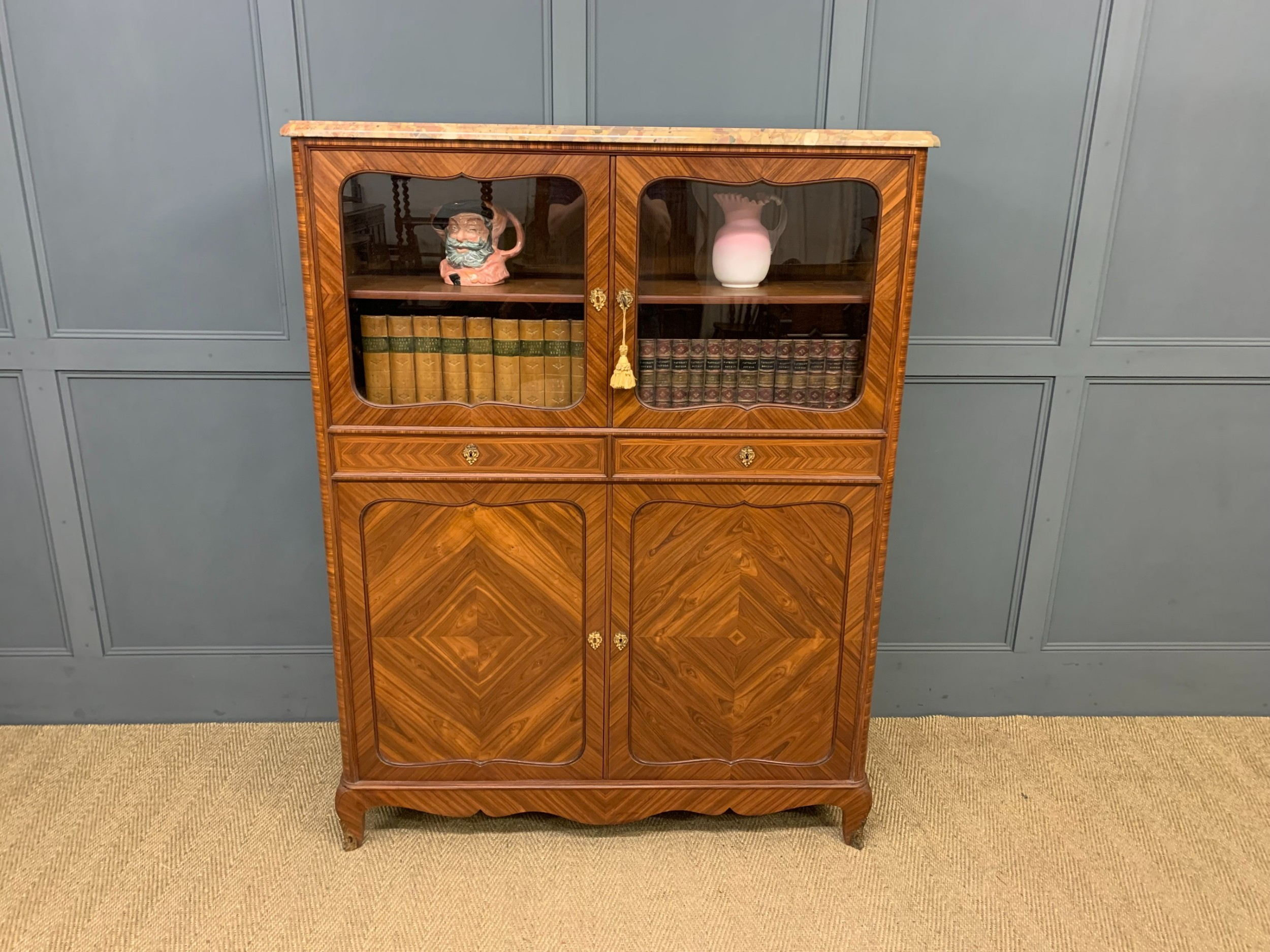 french marble topped kingwood cabinet