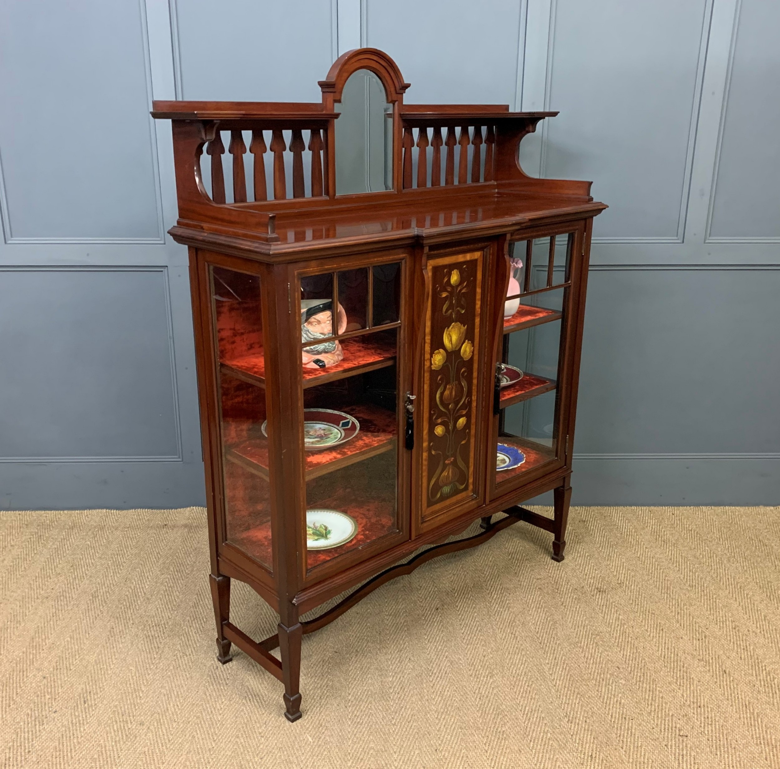 shapland and petter mahogany display cabinet