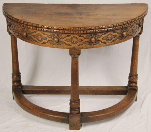 Oak Credence Half Moon Table 179006 Sellingantiques Co Uk