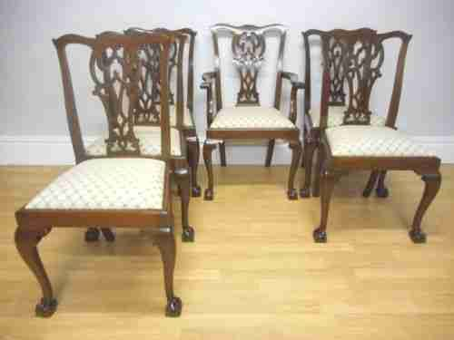 antique set of 6 chippendale chairs
