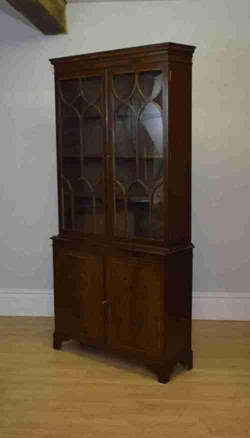 edwardian mahogany inlaid bookcase