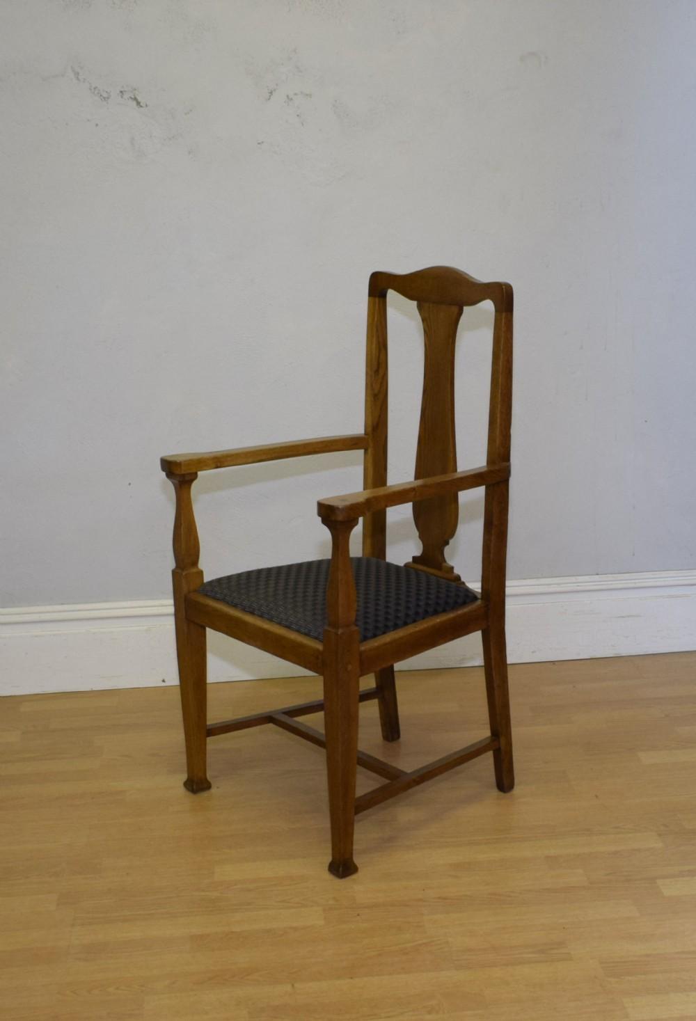 arts crafts oak armchair