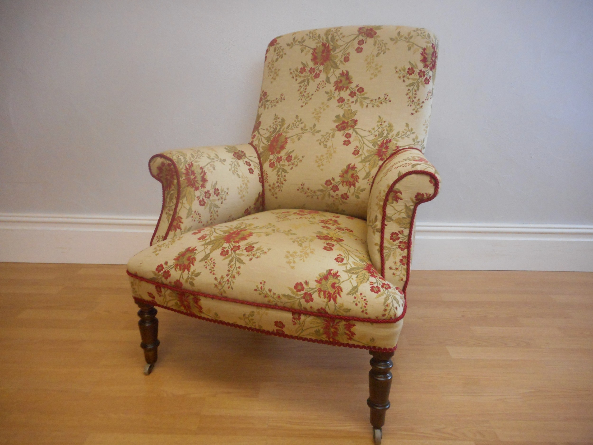antique english victorian upholstered arm chair circa 1860