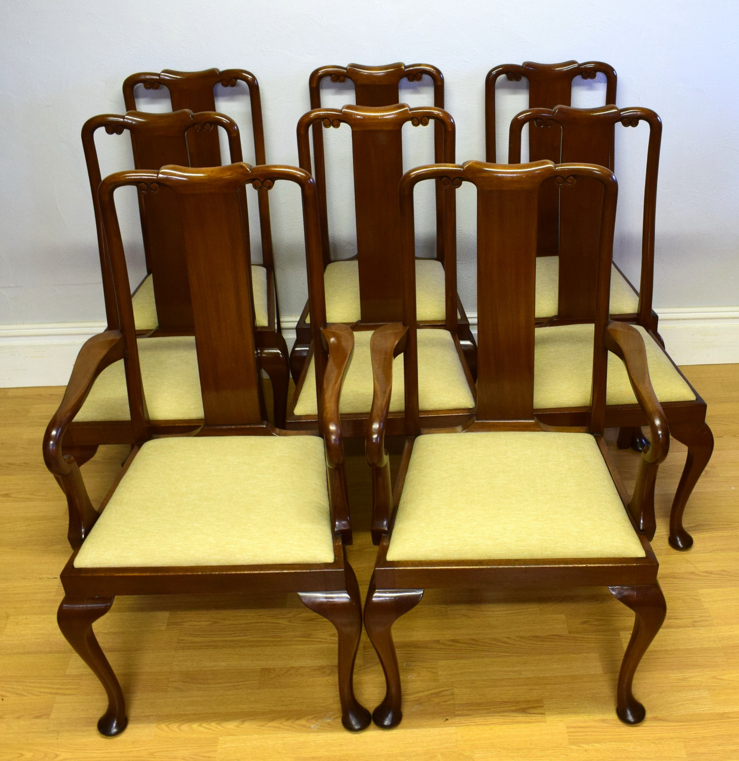 antique dining chairs set of 8 queen anne style circa 1890