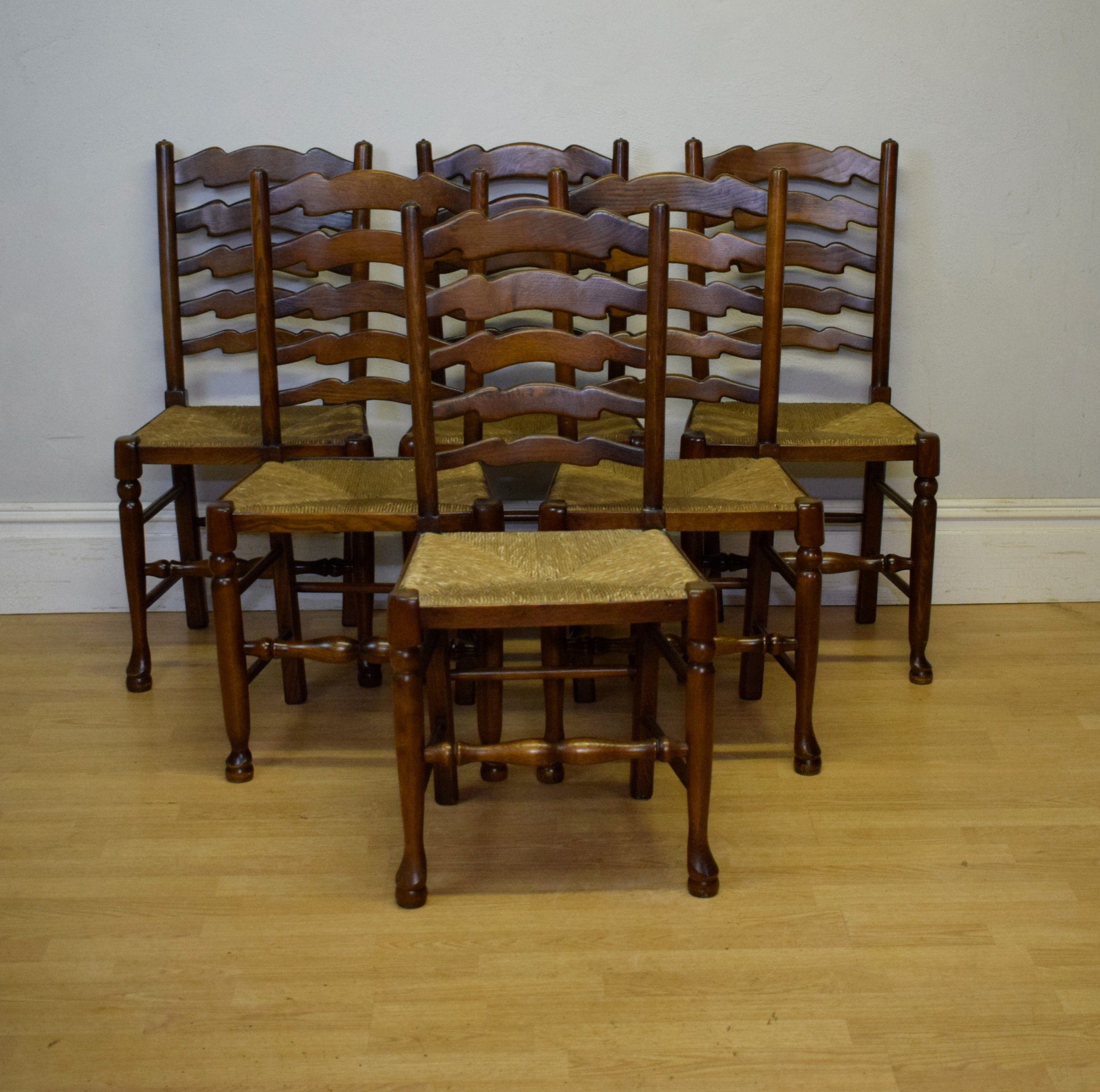 early 20th century set of 6 ladder back diningkitchen chairs