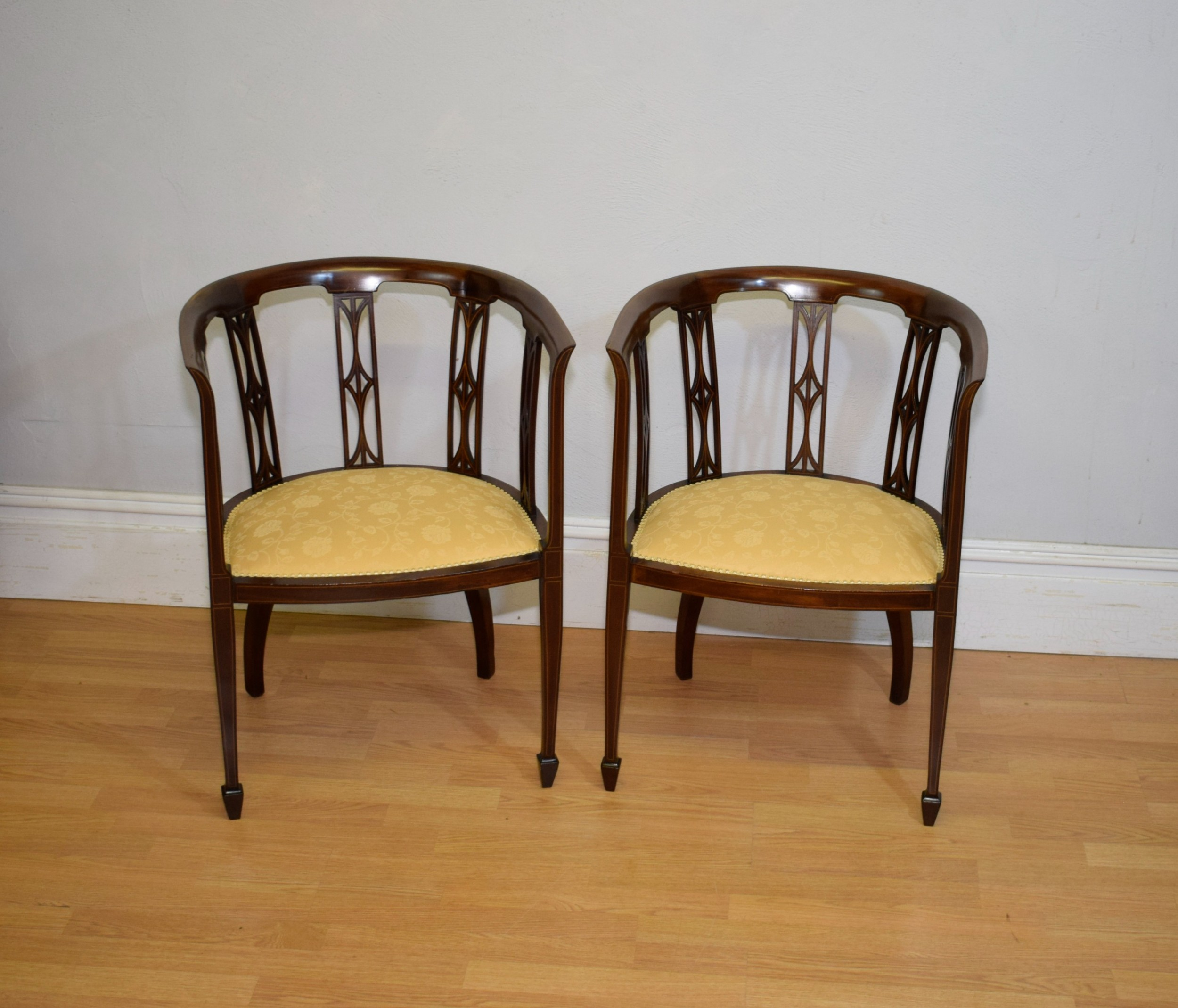 pair of edwardian inlaid tub chairs