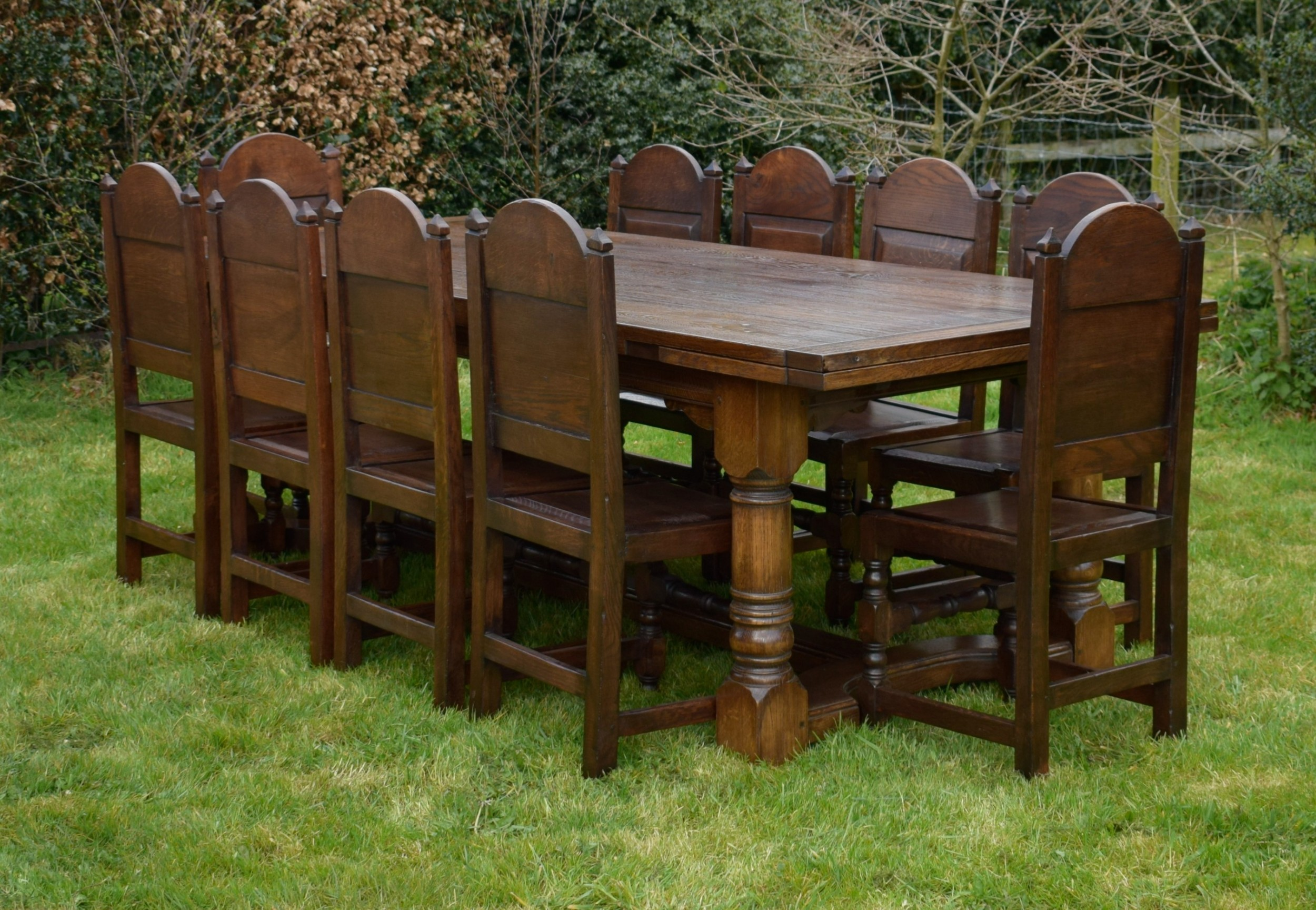 oak refectory table 10 chairs