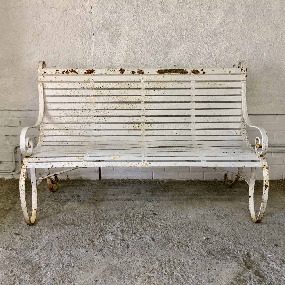 mid 19th century iron strap bench