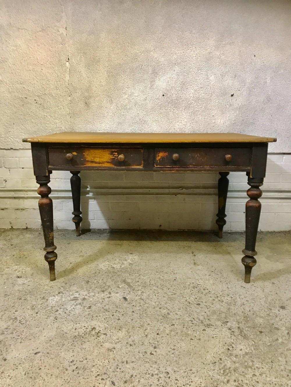 early 19th century pine scrub top table with 2 drawers