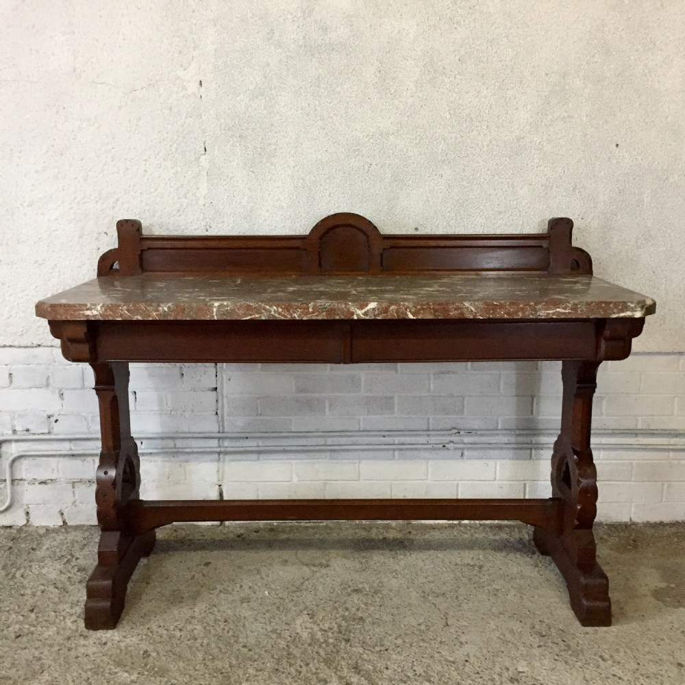 victorian gothic oak console table with marble top