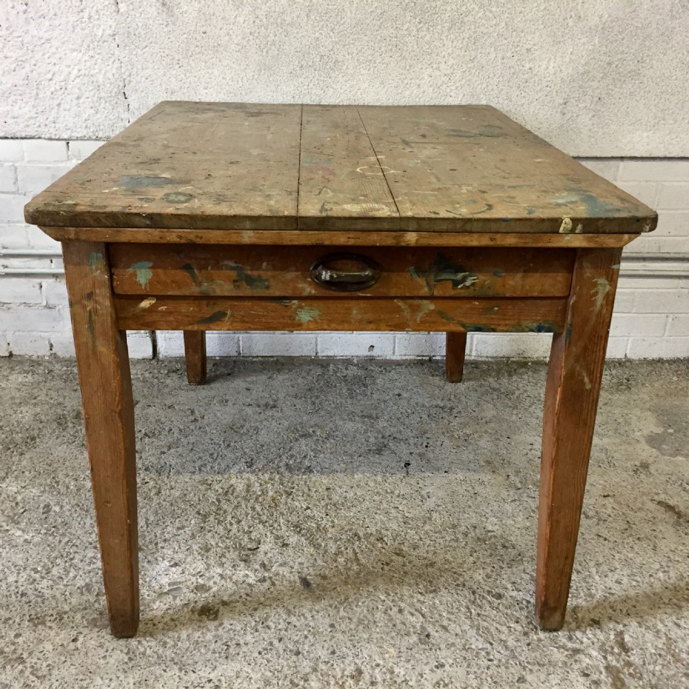 victorian pine kitchen table used as an art table previously