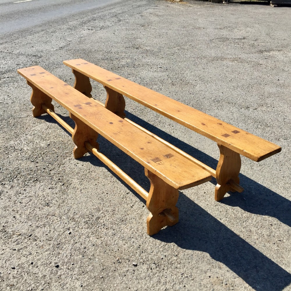 near pair of victorian pine forms benches