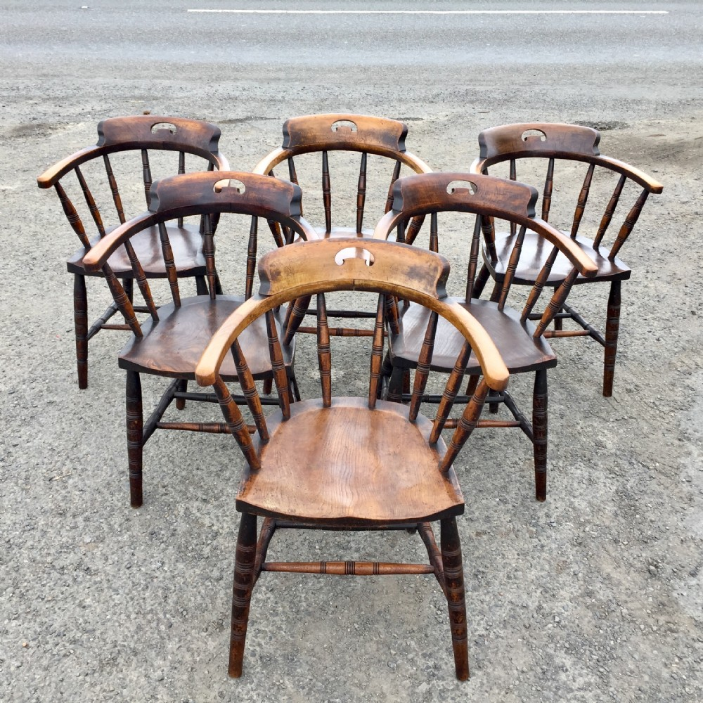 rare set of six 19th century elm and beech elbow chairs