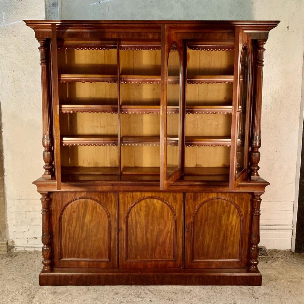 victorian mahogany glazed top bookcase