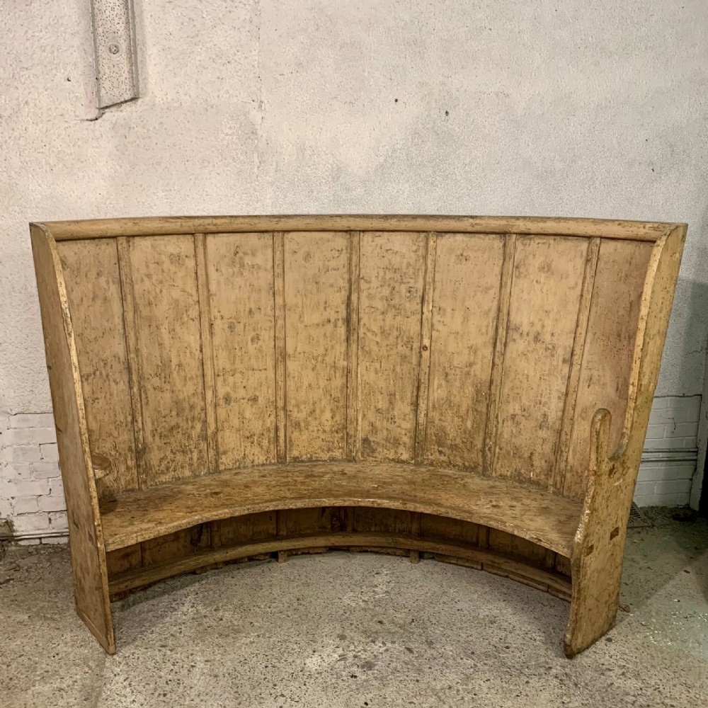 circa 1800 pine high back bow settle in original paint