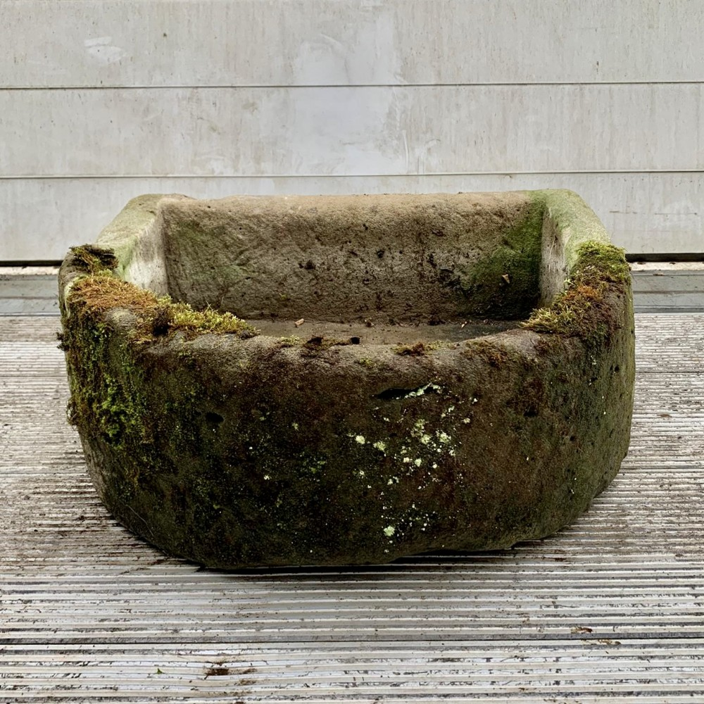 19th century hand carved sandstone d end trough