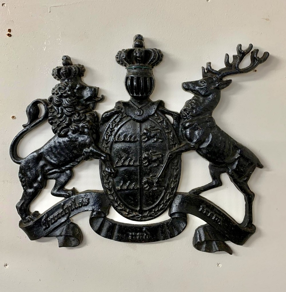 19th century cast iron coat of arms of the kingdom of wurttemberg