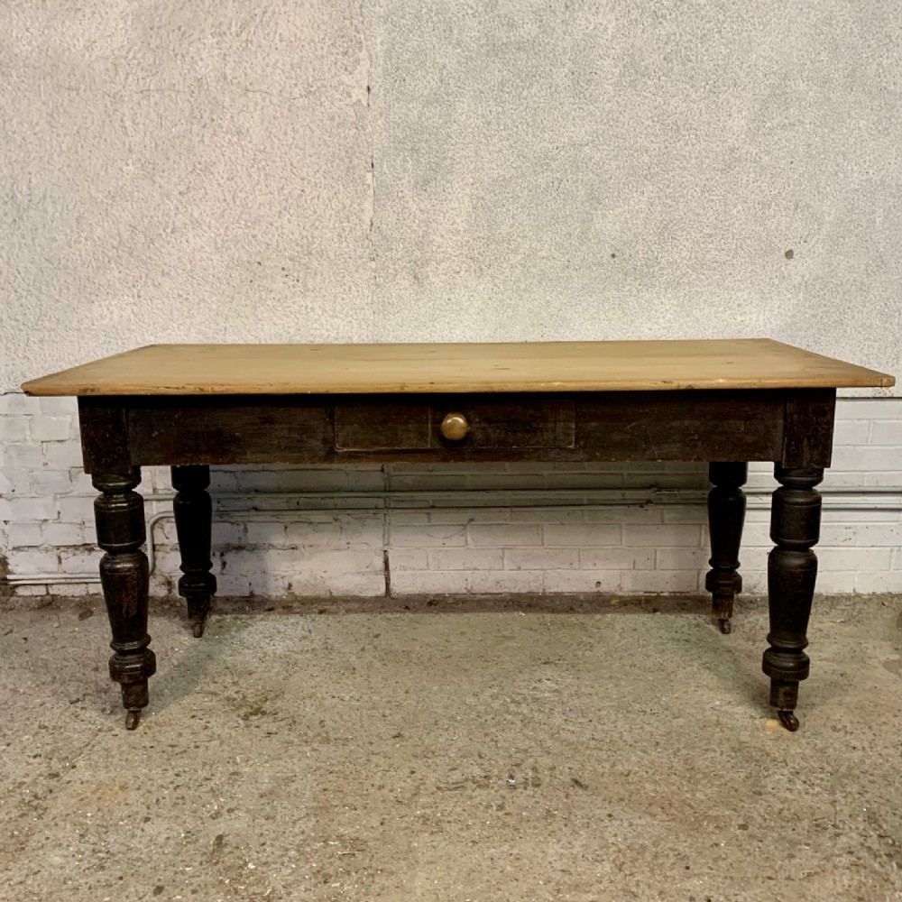 early victorian scrub top 2 plank pine kitchen table on turned legs with castors
