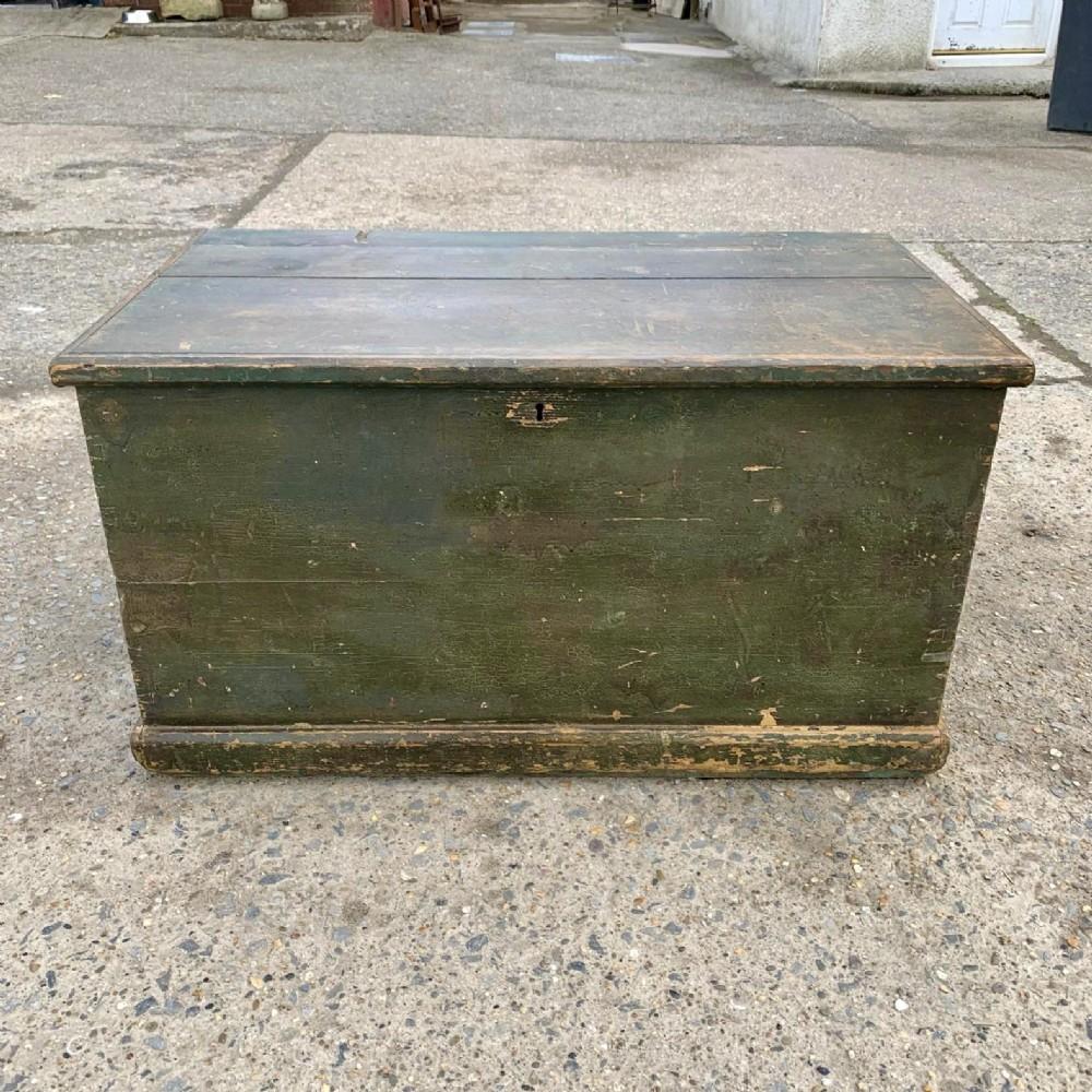 victorian pine blanket box with original paint