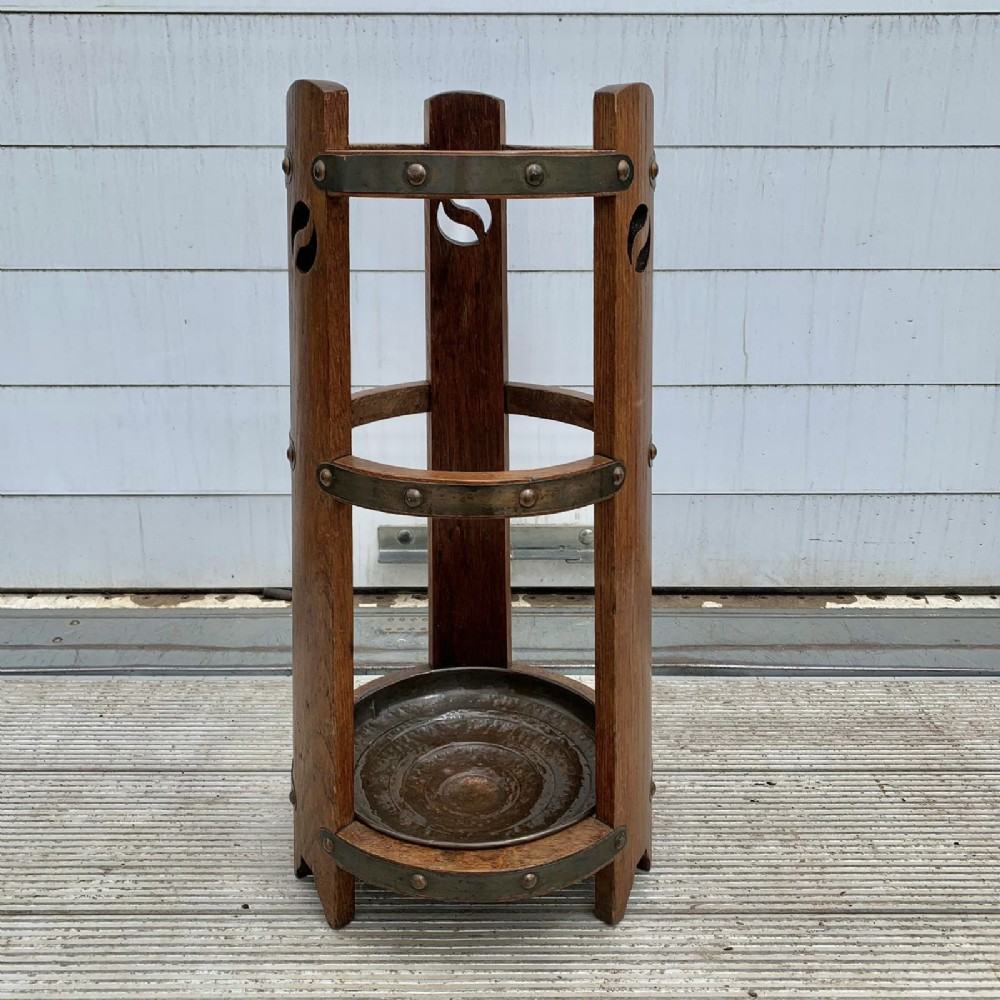 oak arts and crafts stick stand with original removable copper drip tray
