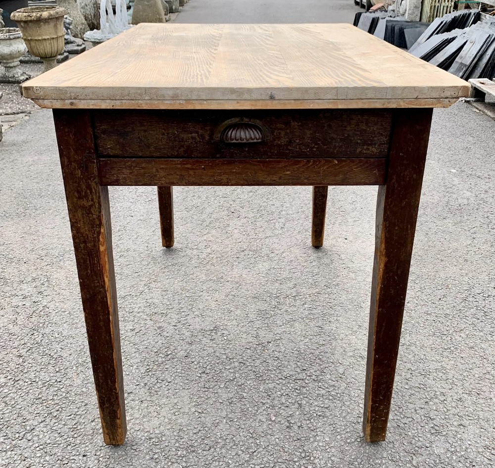 victorian pine scrub top table on tapering legs and with single end drawer