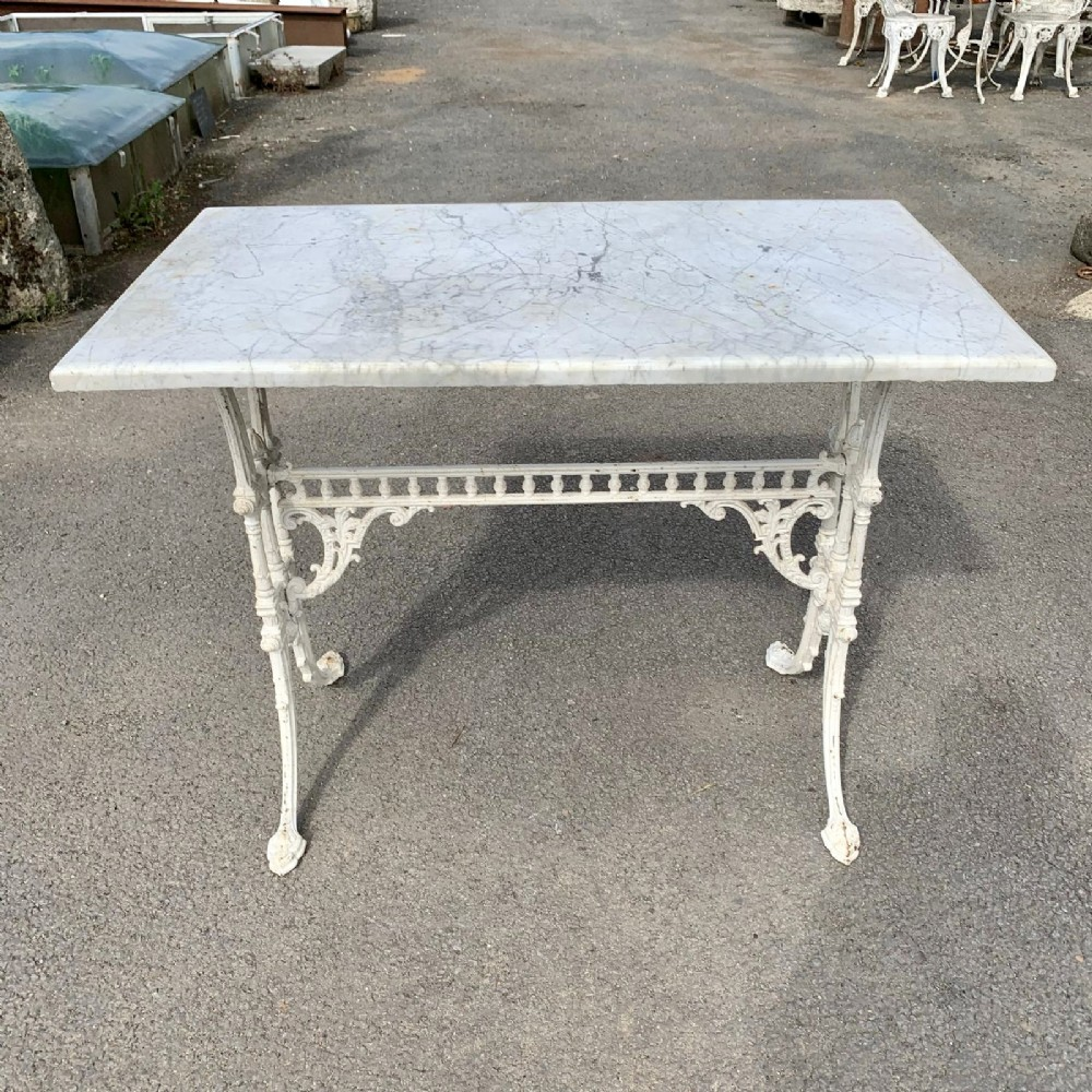 victorian cast iron pub table with marble top