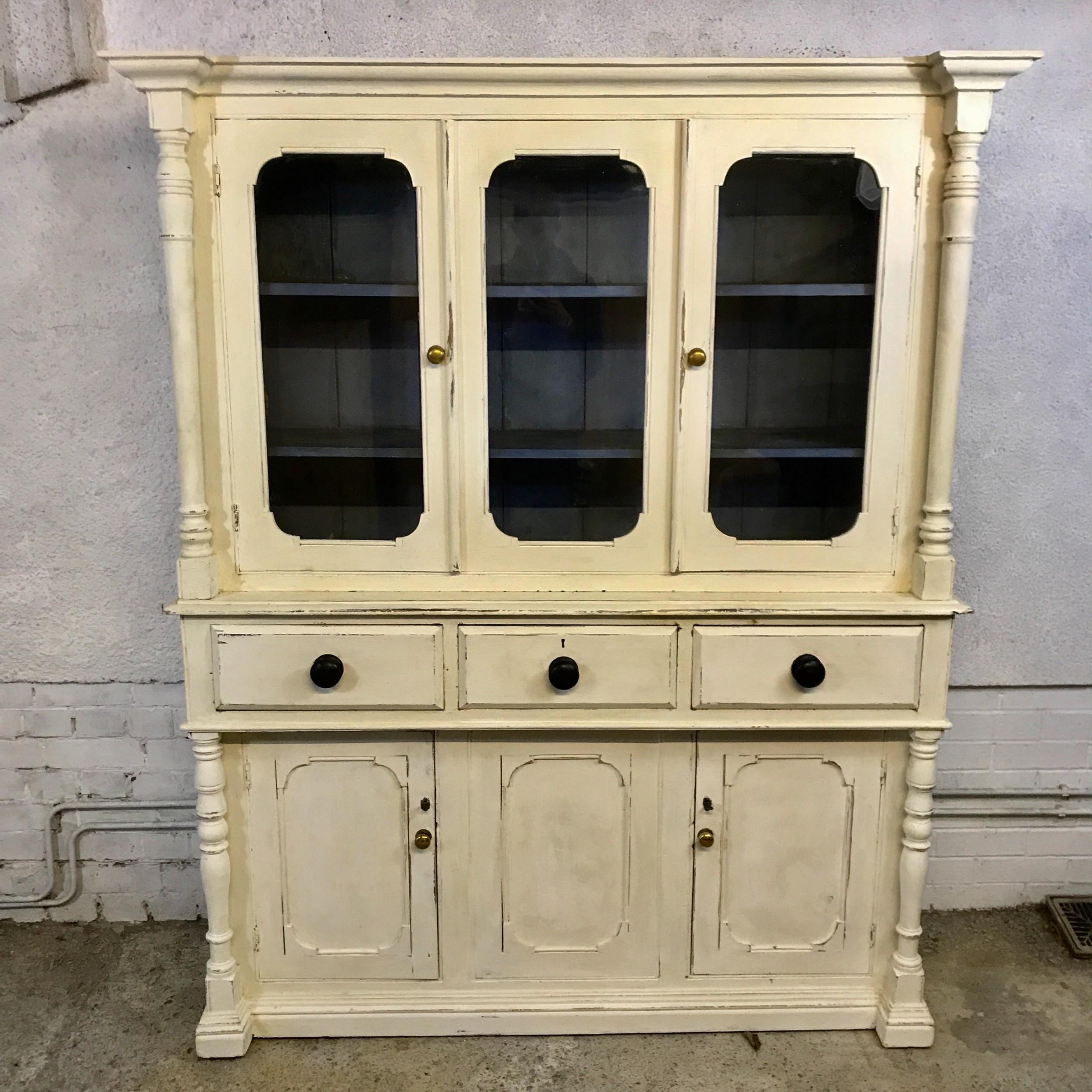 victorian pine dresser with original blue paint inside