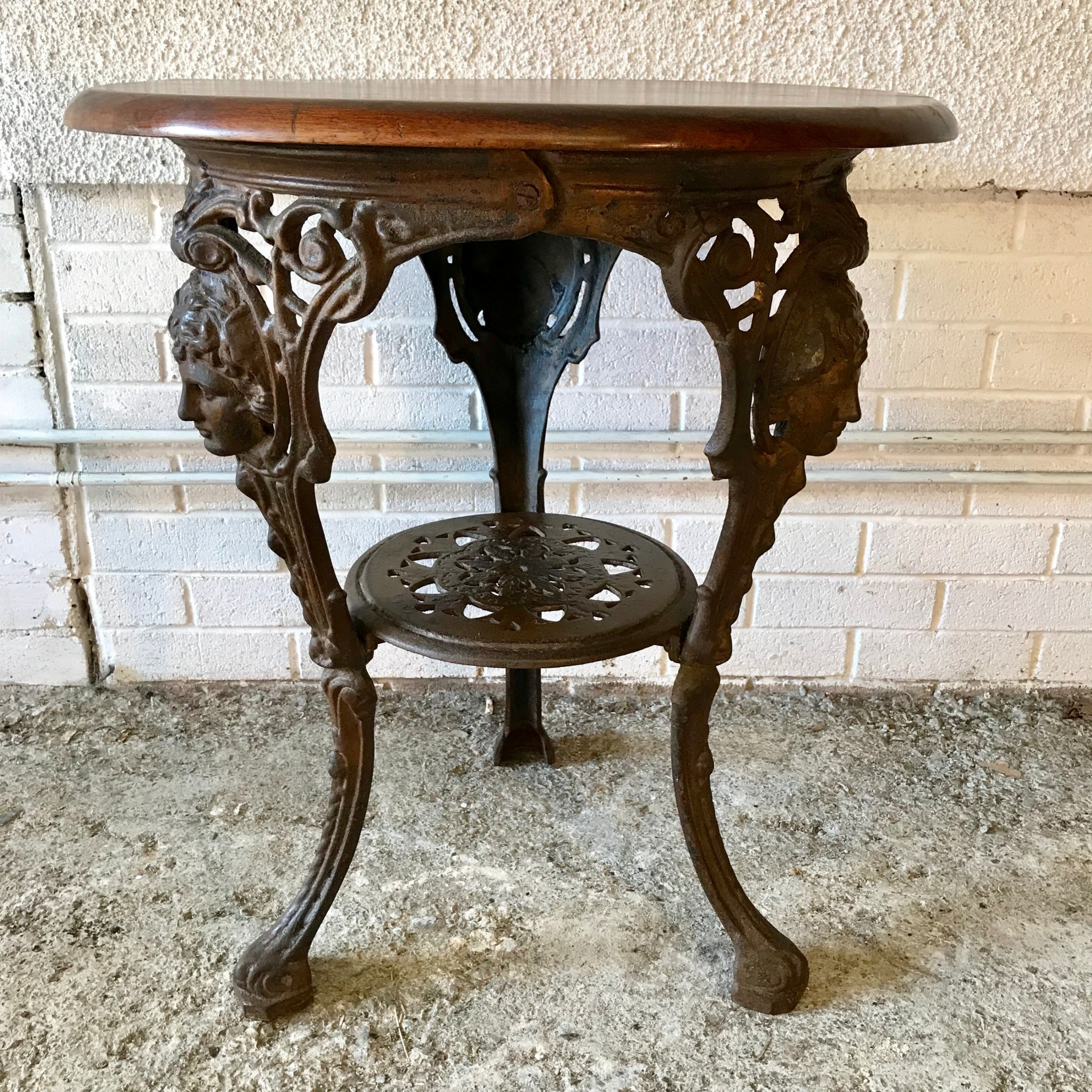 victorian cast iron pub table with original mahogany top