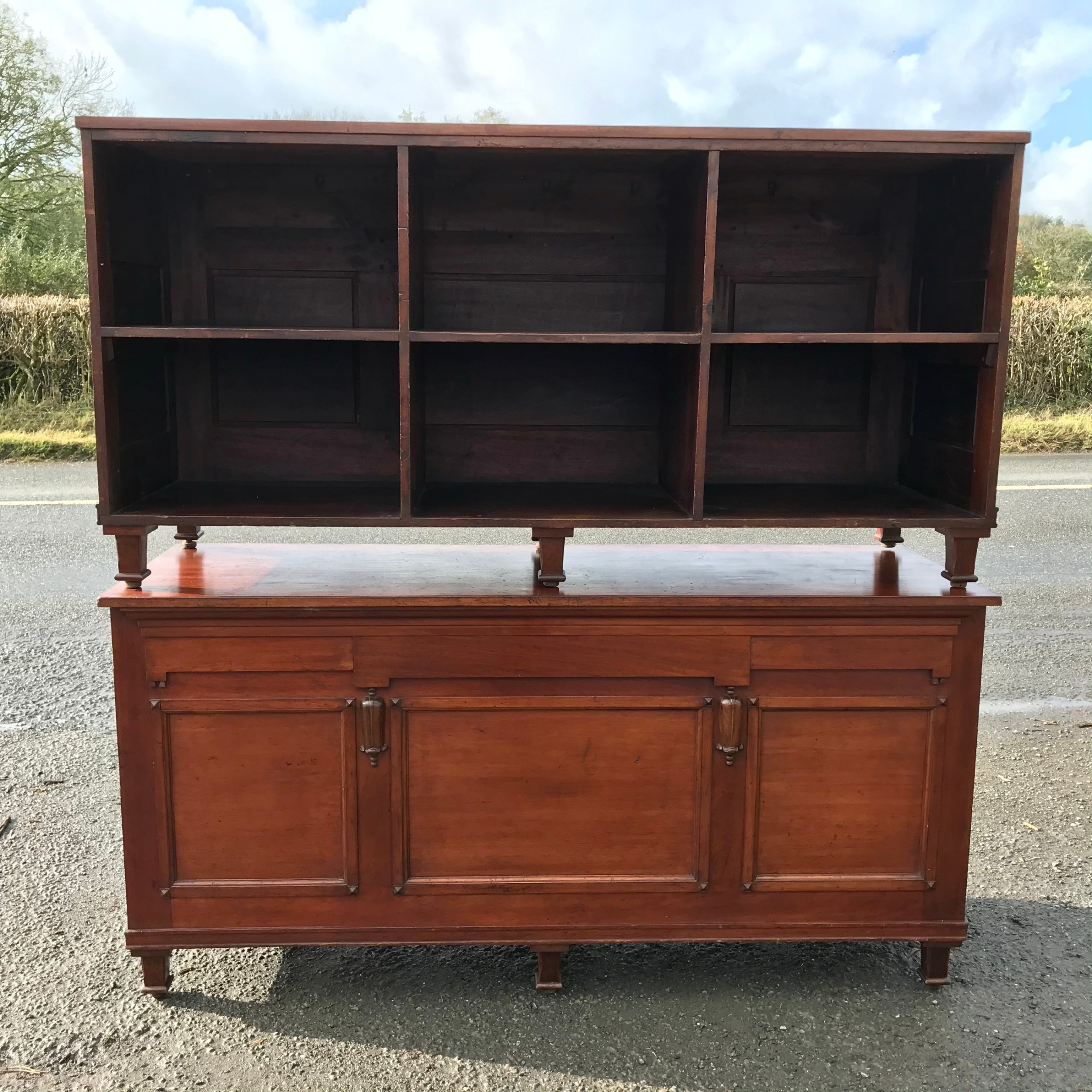 pair of victorian mahogany shop counters with adjustable feet