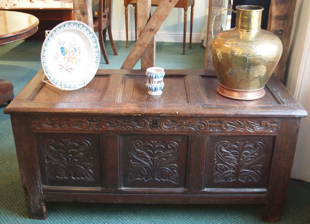 18th c oak carved coffer carved front panels frieze