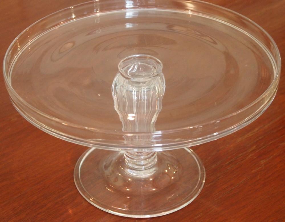18th c large glass tazza silesian stem