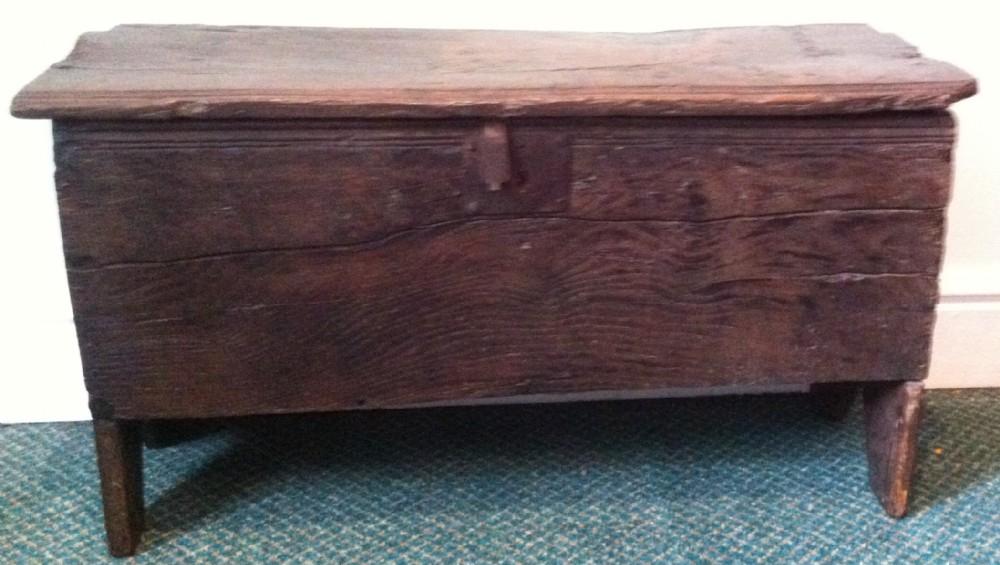 small 17th c oak six plank coffer