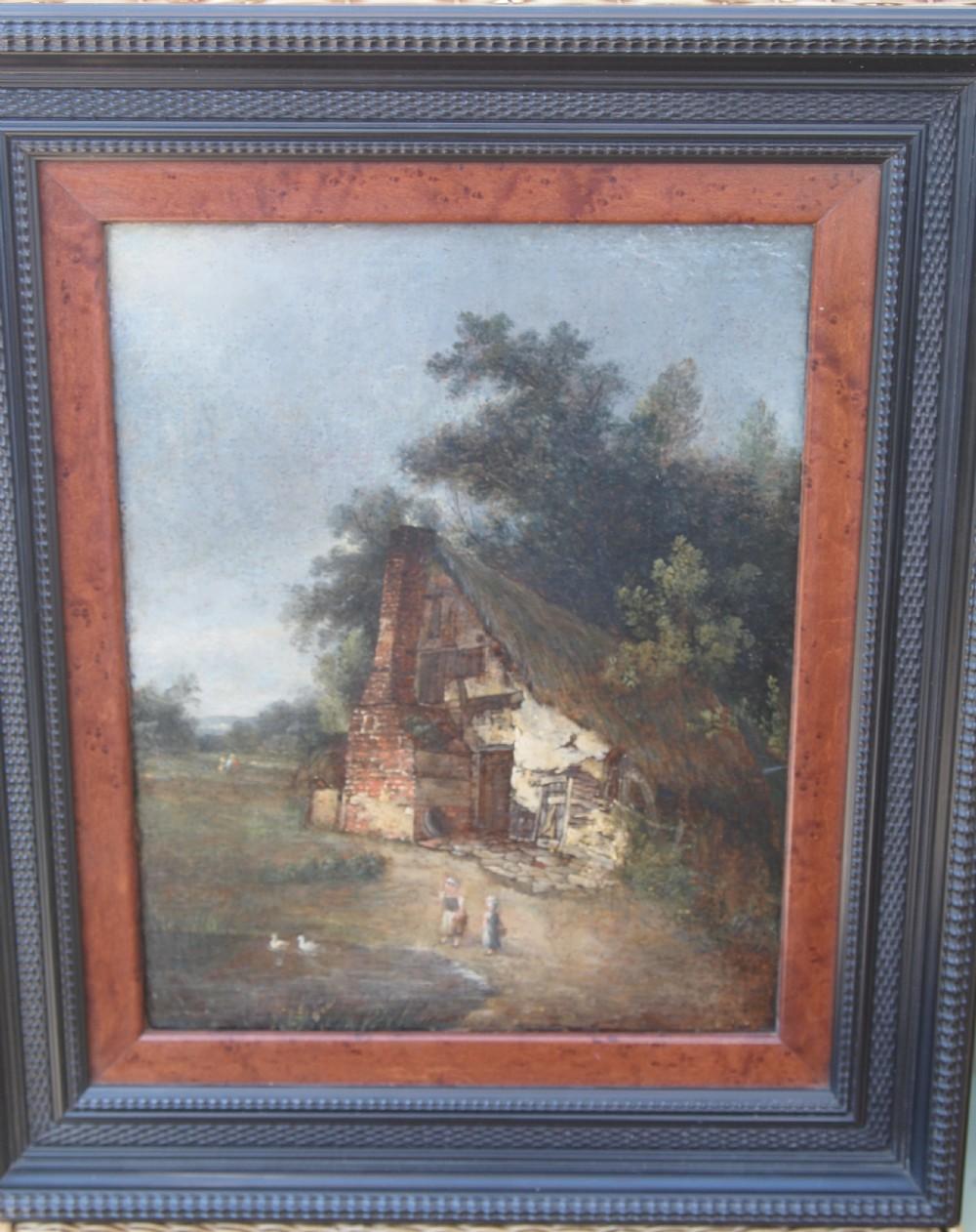 norwich school joseph paul 18041887 girl by a cottage