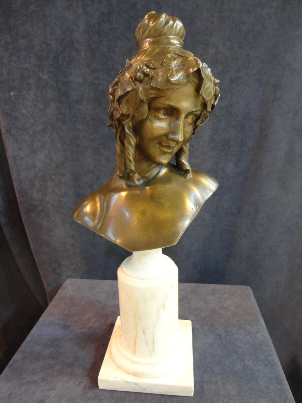 art nouveau bronze sculpture of a female bust set on a marble plinth 292519 sellingantiques. Black Bedroom Furniture Sets. Home Design Ideas