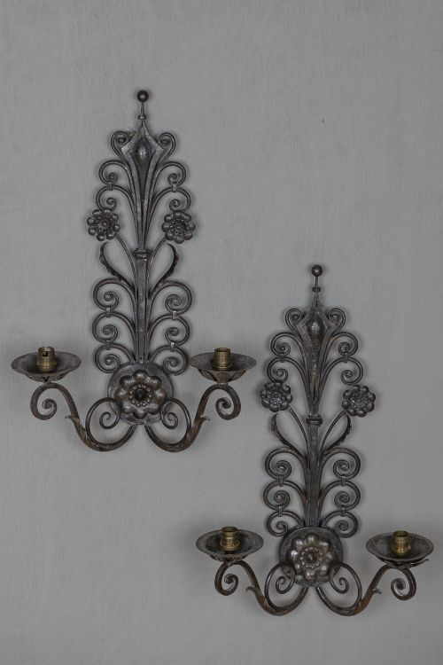 pair of large french art nouveau style silvered metal wall sconces