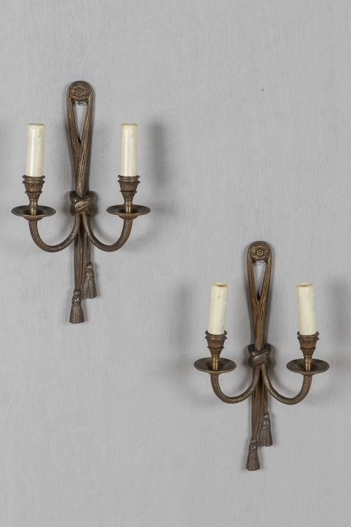 pair of french brass rope and tassle wall sconces