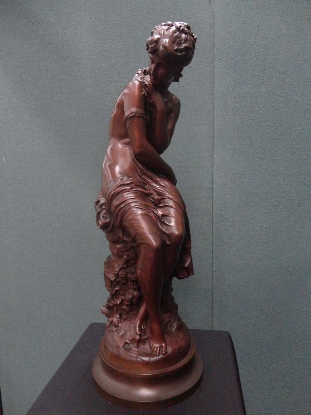 French Bronze Sculpture Of A Female Figure Signed Math