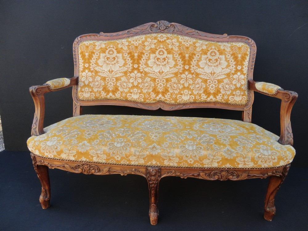 French Carved Walnut Louis Xv1 Style Sofa