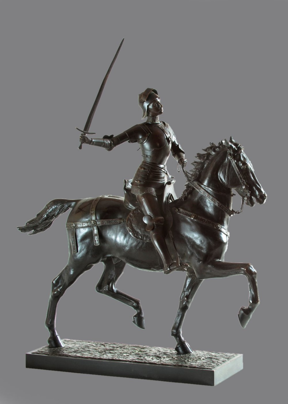 stunning french bronze sculpture of jeanne d' arc by paul dubois