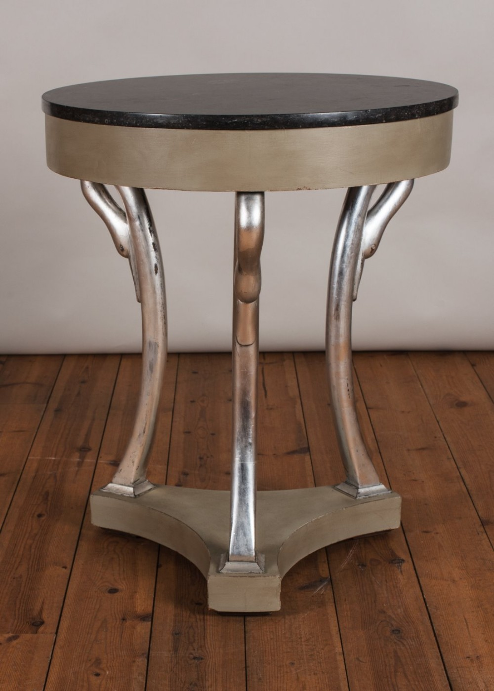 french painted and parcel silvered empire style centre table with marble top