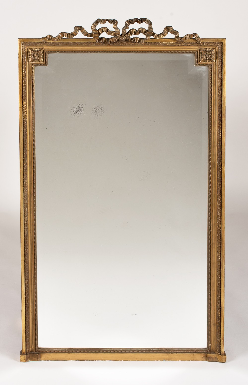 19th century large french gilt overmantle mirror with its original bevelled glass