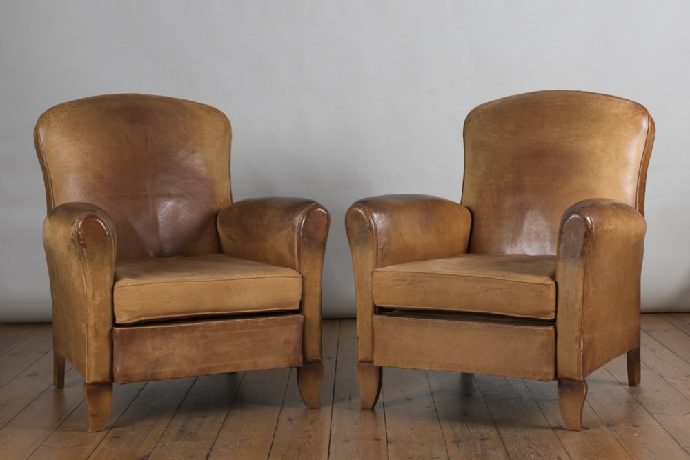 Pair Of French Art Deco Leather Club Armchairs 526022