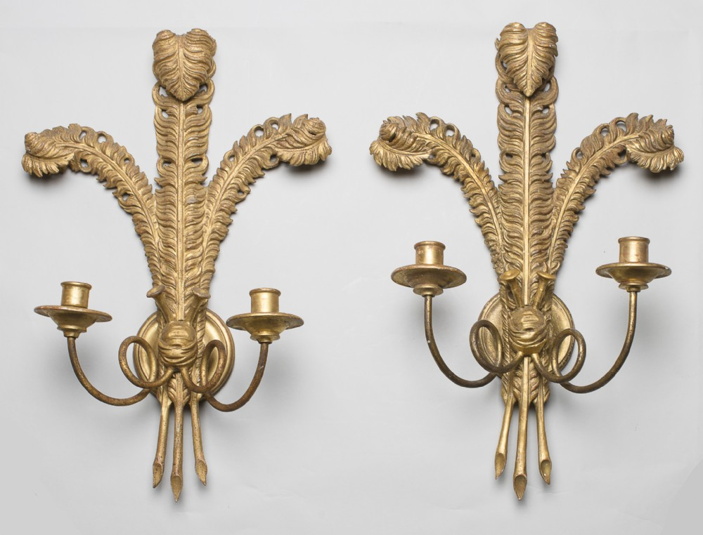 Pair Of French Gilt Carved Wood Wall Sconces | 526954 ...