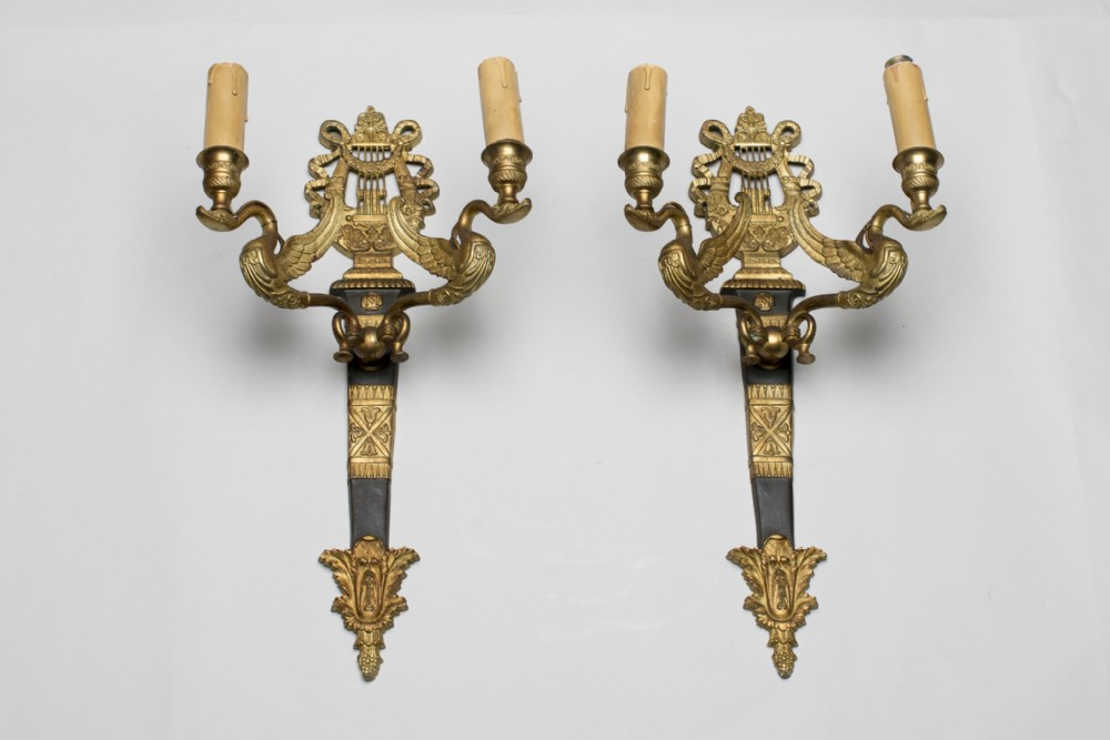 pair of french empire style ormolu wall sconces lights