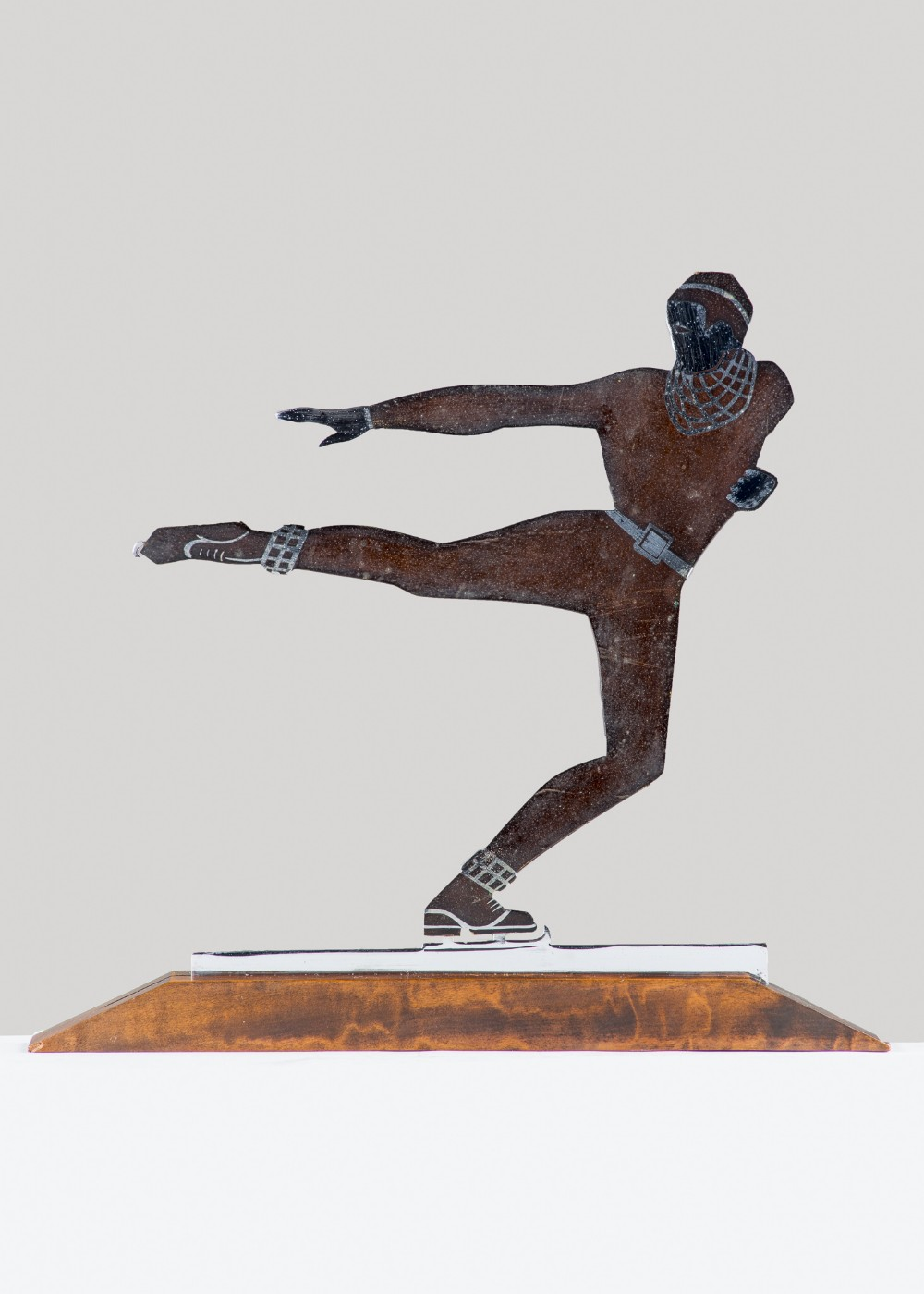 french art deco bronze sculpture of an ice skater signed lgerfaux
