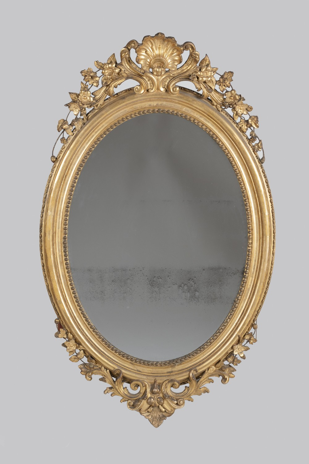 19th century french large gilt oval wall mirror