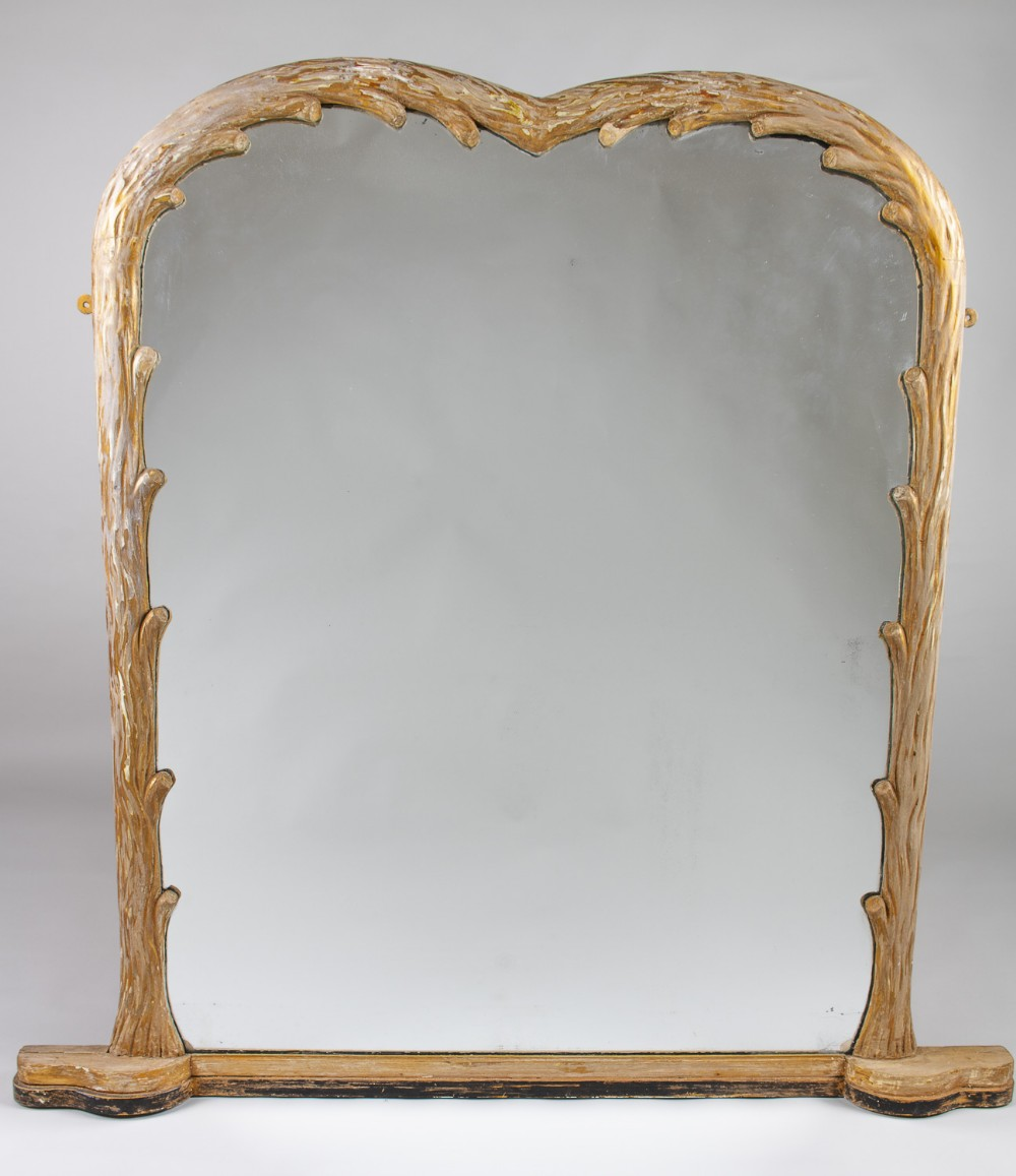 19th century english victorian carved wood overmantle mirror